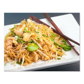 """Thai Lo Mein Noodle Stir Fry 4.25"""" X 5.5"""" Invitation Card"""