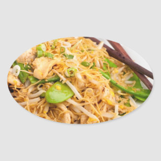 Thai Lo Mein Noodle Stir Fry Oval Sticker