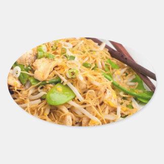 Thai Lo Mein Noodle Stir Fry Oval Sticker