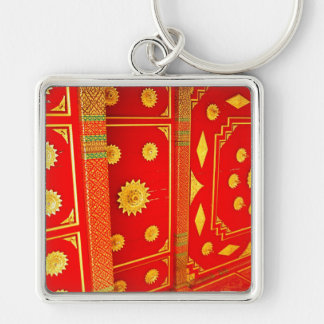 Thai Pavillion Ceiling Silver-Colored Square Key Ring