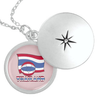 Thai Soccer Ball and Flag Round Locket Necklace