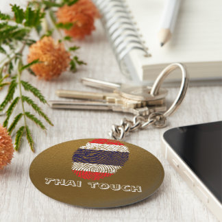 Thai touch fingerprint flag basic round button key ring