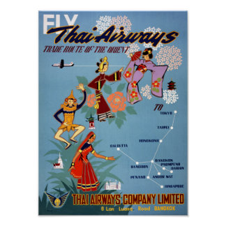 Thai Vintage Air Travel Poster Restored
