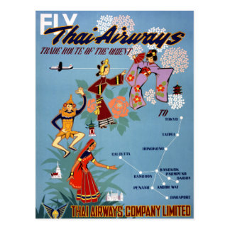 Thai Vintage Air Travel Poster Restored Postcard