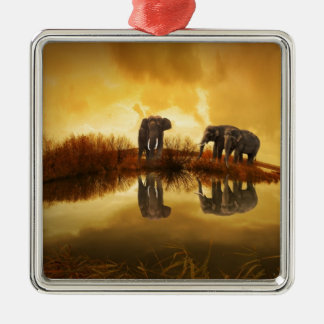 thailand-142982 ELEPHANTS GOLDEN BROWN TUNDRA NATU Christmas Ornament