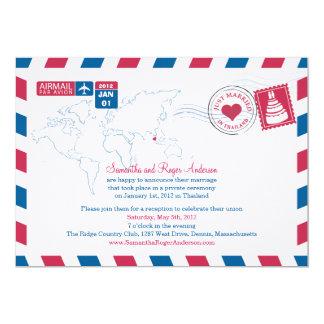Thailand Air Mail Post Wedding Reception 13 Cm X 18 Cm Invitation Card