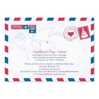 Thailand Air Mail Post Wedding Reception Card