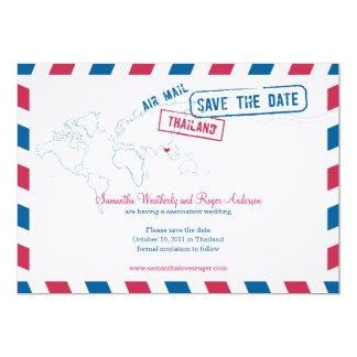 Thailand Air Mail Wedding Save The Date Card