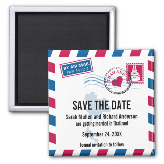 Thailand Air Mail Wedding Save the Date Square Magnet