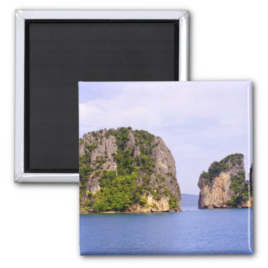 Thailand, Andaman Sea. Ao Phang Nga Islands in 2 Square Magnet