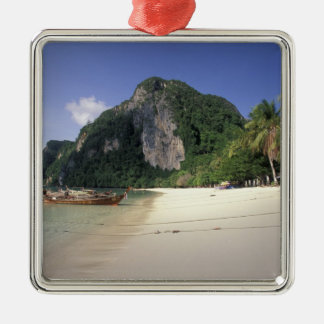 Thailand, Andaman Sea, Ko Phi Phi Island, Beach Silver-Colored Square Decoration