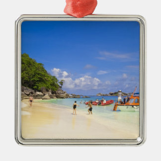 Thailand, Andaman Sea. Passengers onshore at Silver-Colored Square Decoration