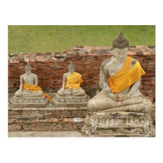 Thailand, Ayutthaya. Statues of sitting buddhas Postcard