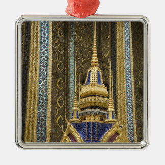 Thailand, Bangkok. Details of ornately decorated Silver-Colored Square Decoration