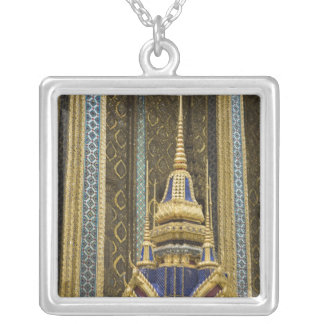 Thailand, Bangkok. Details of ornately decorated Silver Plated Necklace