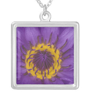 Thailand, Bangkok, Purple and yellow lotus Silver Plated Necklace