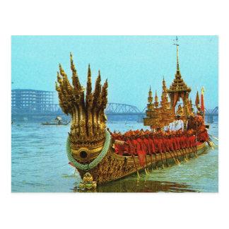 Thailand, Bangkok  Royal barge on the river Postcard