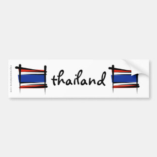 Thailand Brush Flag Bumper Sticker