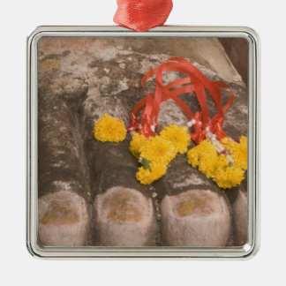Thailand, Buddha's feet and Marigold offering Christmas Ornament