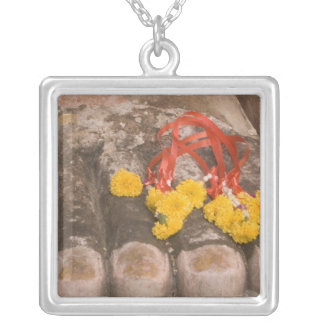 Thailand, Buddha's feet and Marigold offering Silver Plated Necklace