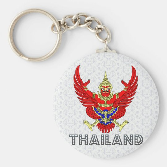Thailand Coat of Arms Basic Round Button Key Ring