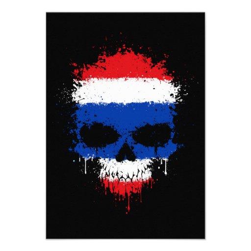 Thailand Dripping Splatter Skull Invites