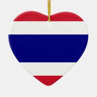 Thailand Flag Heart Christmas Ornaments
