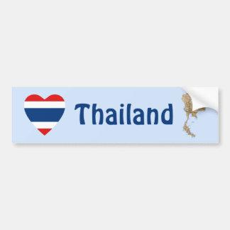 Thailand Flag Heart + Map Bumper Sticker