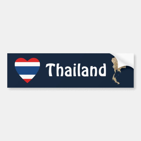 Thailand Flag Heart + Map Bumper Sticker