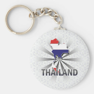 Thailand Flag Map 2.0 Basic Round Button Key Ring