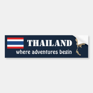 Thailand Flag + Map Bumper Sticker