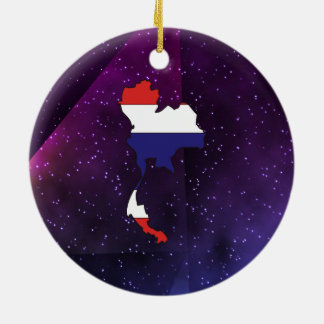 thailand Flag Map on abstract space background Christmas Ornament