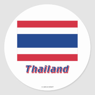 Thailand Flag with Name Classic Round Sticker