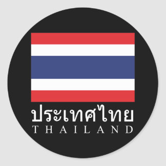 Thailand Flag With Thailand Word In Thai Language Classic Round Sticker