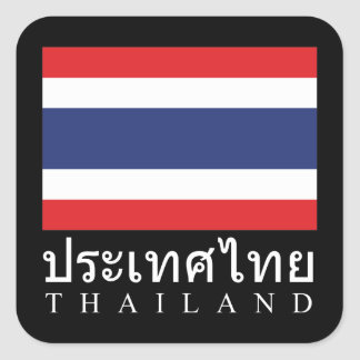 Thailand Flag With Thailand Word In Thai Language Square Sticker