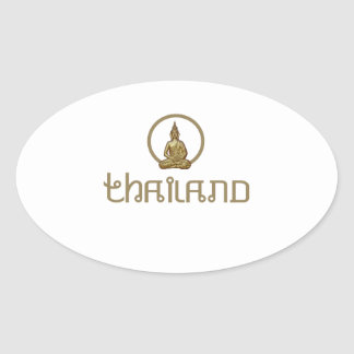 Thailand Gold Statue Oval Sticker