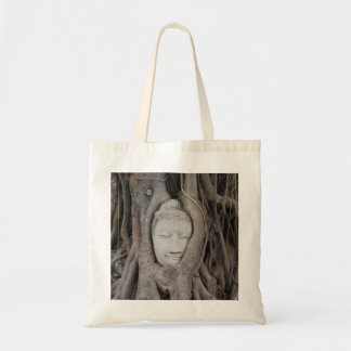 Thailand Head of Buddha surrounded by trees Budget Tote Bag