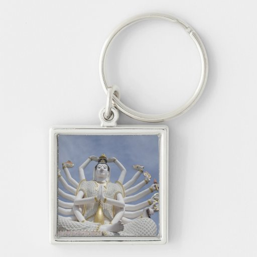 Thailand, Ko Samui aka Koh Samui). Wat Plai 3 Silver-Colored Square Key Ring