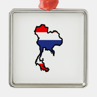 THAILAND MAP FLAG Silver-Colored SQUARE DECORATION