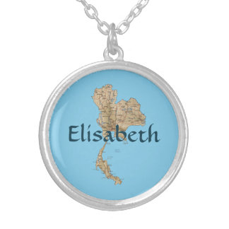 Thailand Map + Name Necklace