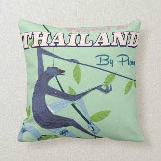 Thailand Monkey vintage travel print Throw Pillow