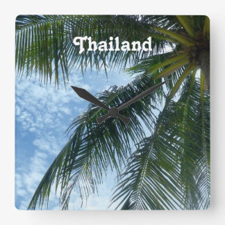 Thailand Palm Tree Square Wall Clock