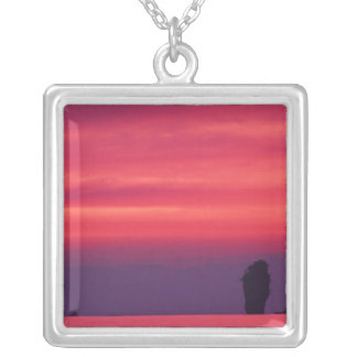 Thailand, Phang Nga Bay. Pink sky reflected in Silver Plated Necklace