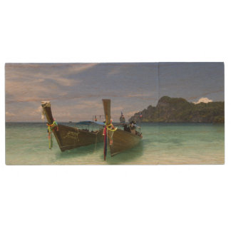 Thailand, Phi Phi Don Island, Yong Kasem beach, Wood USB 2.0 Flash Drive