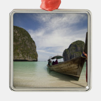 Thailand, Phi Phi Lay Island, Maya Bay. Silver-Colored Square Decoration