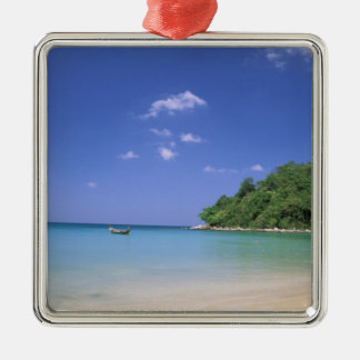 Thailand, Phuket Island. Beach. Silver-Colored Square Decoration