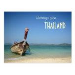 thailand traditional long transportation boat postcard