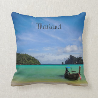 Thailand Travel Beach Photo with Fishing Boat Cushion
