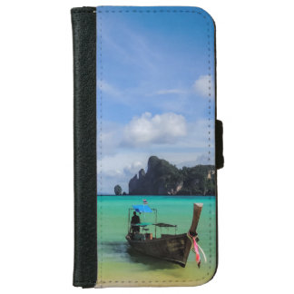 Thailand Travel Beach Photo with Fishing Boat iPhone 6 Wallet Case