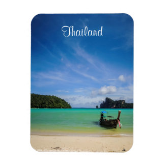 Thailand Travel Beach Photo with Fishing Boat Rectangular Photo Magnet